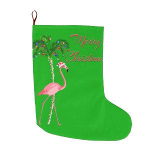Merry Christmas Flamingo Large Christmas Stocking