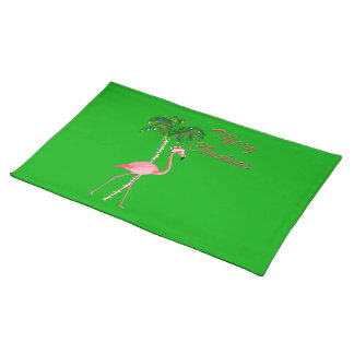 Merry Christmas Flamingo Placemat