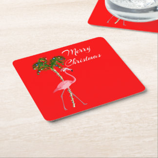 Merry Christmas Flamingo Square Paper Coaster