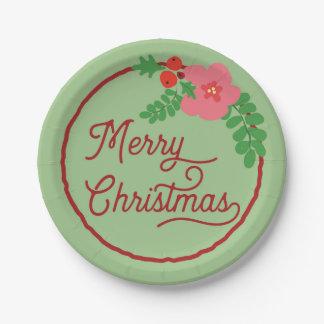Merry Christmas Flora Paper Plates