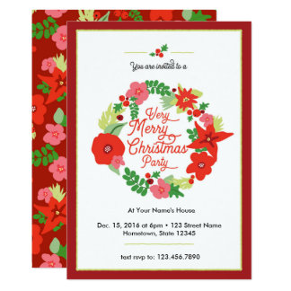 Merry Christmas Flora Party Invitations