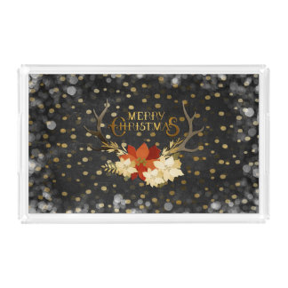 Merry Christmas Floral Antlers Confetti Acrylic Tray