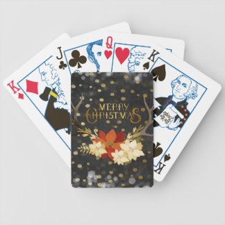 Merry Christmas Floral Antlers Confetti Bicycle Playing Cards
