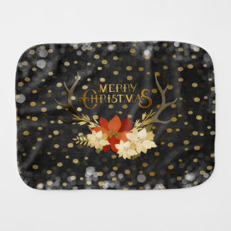 Merry Christmas Floral Antlers Confetti Burp Cloth