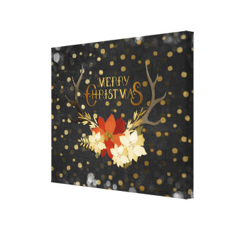 Merry Christmas Floral Antlers Confetti Canvas Print