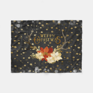 Merry Christmas Floral Antlers Confetti Fleece Blanket