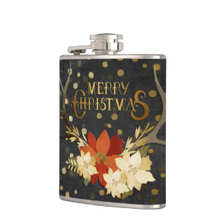 Merry Christmas Floral Antlers Confetti Hip Flask