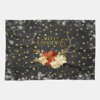 Merry Christmas Floral Antlers Confetti Kitchen Towel