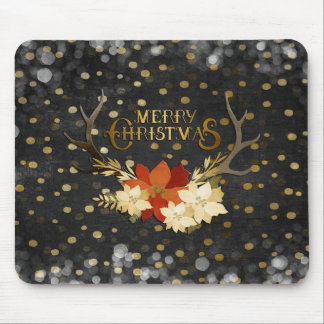 Merry Christmas Floral Antlers Confetti Mouse Pad
