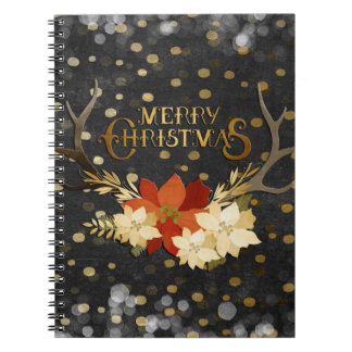 Merry Christmas Floral Antlers Confetti Notebooks