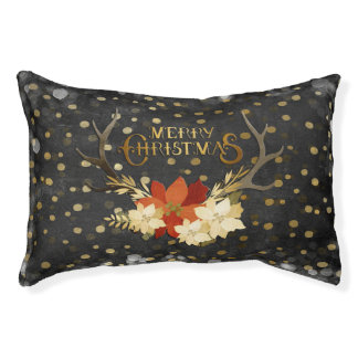 Merry Christmas Floral Antlers Confetti Pet Bed