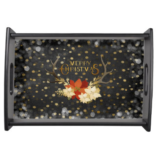 Merry Christmas Floral Antlers Confetti Serving Tray