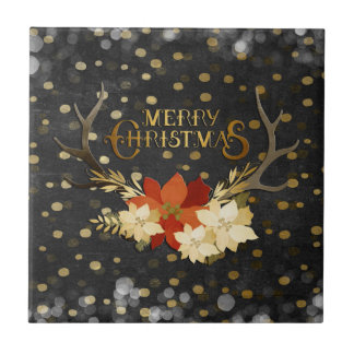 Merry Christmas Floral Antlers Confetti Tile