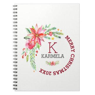 Merry Christmas Floral Flowers Bouquet Design Notebook