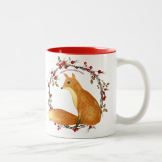 merry christmas foxy mug fox berries wreath