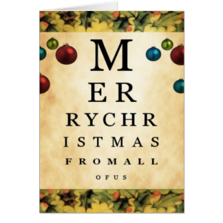 Merry Christmas From All of Us Eye Chart Card