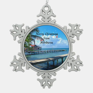 Merry Christmas from Honduras Pewter Snowflake Ornament