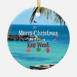 Merry Christmas from Key West Round Ceramic Ornament