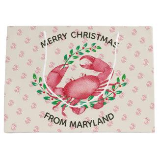 Merry Christmas from Maryland Christmas Crab Large Gift Bag