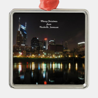 Merry Christmas from Nashville, Tennessee Silver-Colored Square Ornament