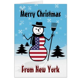 Merry Christmas From New York Snowman US Flag Card