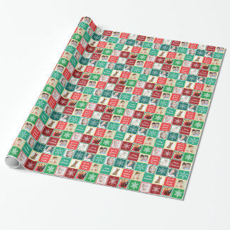 Merry Christmas from Our Family 8 Photos Template Wrapping Paper