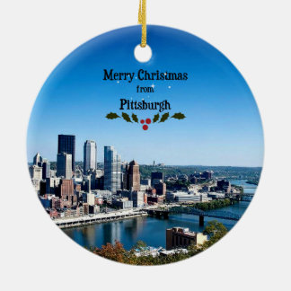 Merry Christmas from Pittsburgh Round Ceramic Ornament