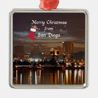 Merry Christmas from San Diego Metal Ornament