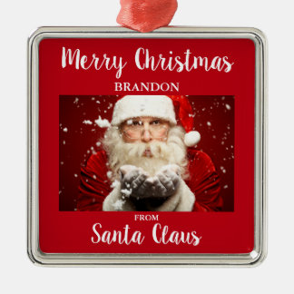 Merry Christmas From Santa Claus ADD NAME Metal Ornament