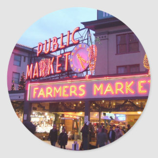Merry Christmas from Seattle Pike Place Market Round Sticker