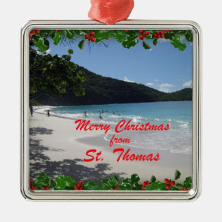 Merry Christmas from St. Thomas Silver-Colored Square Ornament