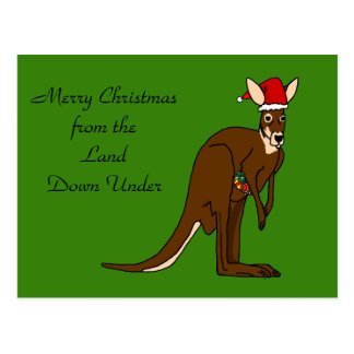 Merry Christmas from the Land Down Under Kangaroo Postcard