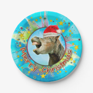 Merry Christmas from the laughing horse Paper Plate