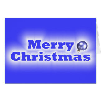 Merry Christmas Frosted - Blue Greeting Card