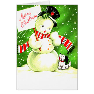Merry Christmas Frosty and Pal Greeting Card