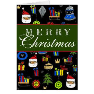 Merry Christmas Fun Modern Whimsical Ornaments Card