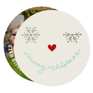 """Merry Christmas Fun Smiley Wink Holiday Photo Card 5.25"""" Square Invitation Card"""