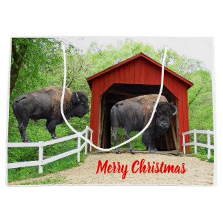Merry Christmas Funny Buffalo Red Covered Bridge Large Gift Bag