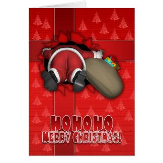 Merry Christmas Funny Card - Santa Fallen Inside A