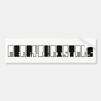 Merry Christmas Funny Piano Keys Black and White Bumper Sticker