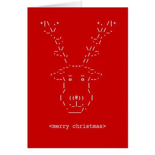 Merry Christmas Geek Reindeer ASCII Art card