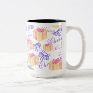 Merry Christmas Gift Pattern Two-Tone Coffee Mug