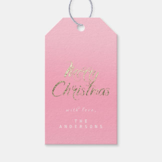 Merry Christmas Gift To Script Gold Bright Pink Ro Gift Tags