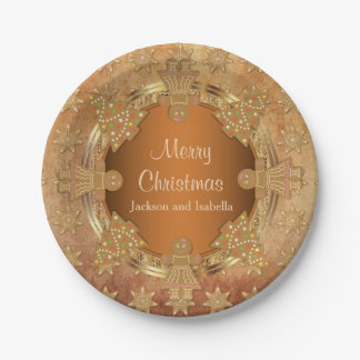 Merry Christmas Gingerbread Cookies Paper Plate