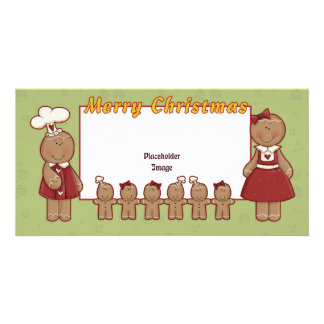 Merry Christmas - Gingerbread Girl and Boy Personalized Photo Card
