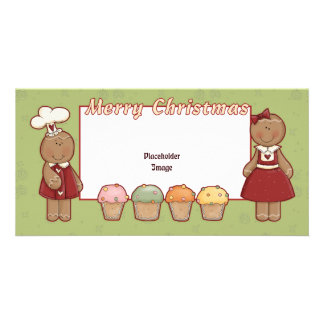 Merry Christmas - Gingerbread Girl and Boy Photo Cards
