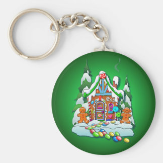 MERRY CHRISTMAS GINGERBREAD HOUSE by SHARON SHARPE Keychain