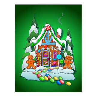 MERRY CHRISTMAS GINGERBREAD HOUSE by SHARON SHARPE Postcard
