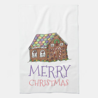 Merry Christmas Gingerbread House Holiday Towel