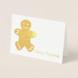 Merry Christmas Gingerbread Man Cookie Holiday Foil Card
